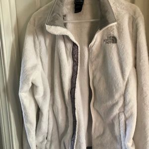 Womens North Face large white fluffy zip up jacket